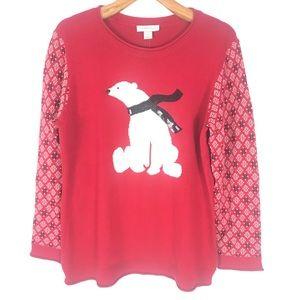 NWT Christopher & Banks Christmas bear sweater